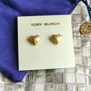 Tory Burch Hammered heart gold stud earrings